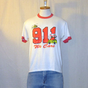 Vintage 80s 911 Police Fire Dept. Graphic BURNOUT DISTRESSED Thrashed Paper Thin Buttery Soft Medium 50/50 RINGER T-Shirt