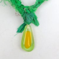 Green Sari Ribbon Glass Pendant Necklace Necklace Green Yellow by The Wild Willows