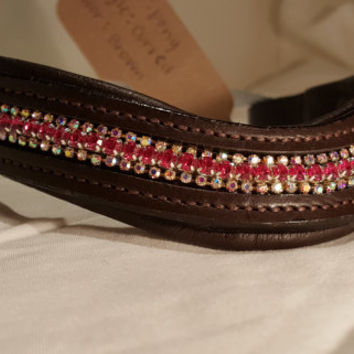Bling English Curved Pony Size Browband Pink and White Rhinestones