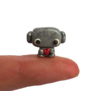 Tiny polymer clay robot sculpture, kawaii miniature silver robot figurine, robot collectible figure, terrarium figurine.