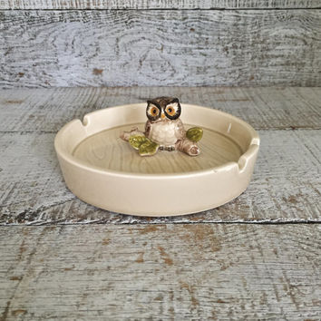 Owl Ashtray Mid Century Ceramic Ashtray Owl on a Branch Ashtray Cigar Ashtray Retro Ceramic Dish Owl Lovers Gift Vintage Rustic Decor