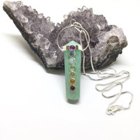 Amazonite Chakra Necklace Sterling Silver Amazonite Chakra Pendant Long Necklace
