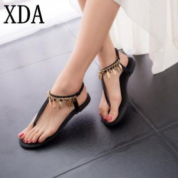 XDA Han edition Bohemia Women sandals 2017 new fashion Roman beads sandals women Summe