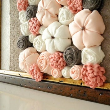 Fabric Flower Wall Art 3D Design Framed Home Decor Peach Beige White Brown  OOAK Ready To