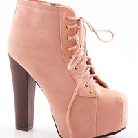Shoe Deja Vu Faux Suede Lace Up High Heel Booties - Nude