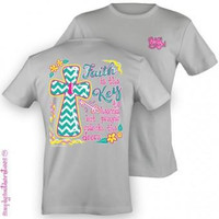 Simply Southern Funny Key Faith Cross Chevron Girlie Bright T Shirt