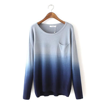 Womens Knit Gradient Sweater