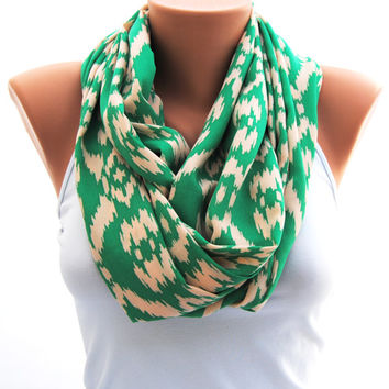 Green ikat print infinity scarf, kelly green eternity scarf, green and peach scarf, Beautiful green scarf, great gift idea
