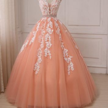 Sexy Evening Dresses V-neck Sleeveless White Applique Crystal Backless Coral Formal Party Dress Long