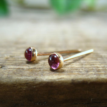 Stud Earrings Gold Pink Tourmaline