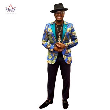 Njadaka African Jacket For Men African Dashiki Print Blazer