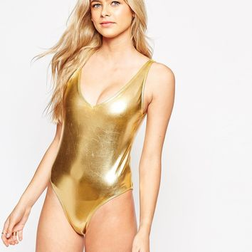Wolf & Whistle Pamela Metallic Swimsuit B-G