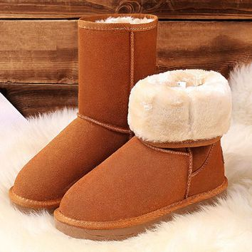 VIXLEO Women Classic Snow Boots tall Leather Winter Shoes Boot with Black Chestnut Gray Women's Ug Boots Australia Botas Mujer