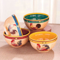 Set Of 4 Colorful Rooster Themed Serving Bowls Country Kitchen Earthenware New