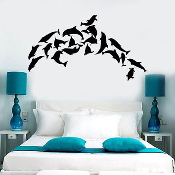 Vinyl Wall Mural Dolphins Marine Decor Ocean Stickers (158ig)