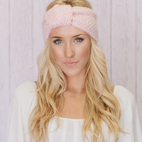 Knitted Headband Knotted Turband Ear Warmer Cotton Candy Pink (HBK1-09)