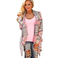 Women's Geometric Printed Long Sleeve Cardigan