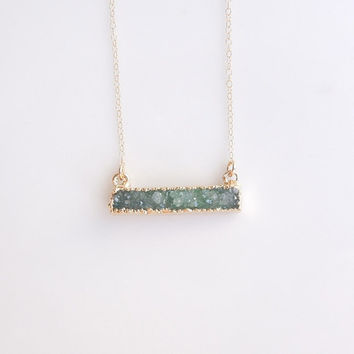 Green Druzy Necklace in Gold - Bar Necklace - OOAK Jewelry