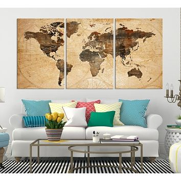 World Map Wall Art Canvas Print Large Wall Art Push Pin World Map Canvas Prints World Travel