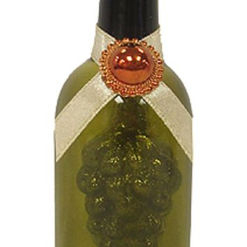 Tuscan Winery Chardonnay White Wine Glass Bottle with Grapes Christmas Ornament