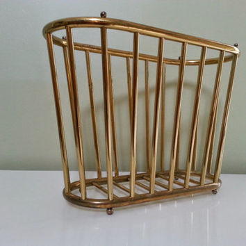 Brass Finish Hollywood Regency Magazine Rack Basket Mid Century