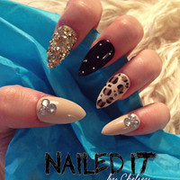 NAILED IT! - Hand painted false nails - 3D studded black & nude - glitter, leopard print, crystals!