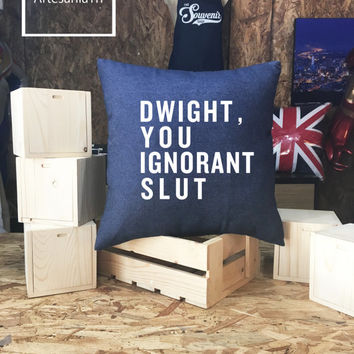 "The Office ""Dwight you ignorant slut Pillow case Jean cotton canvas, Cushion cover, small pillow case, The Office TV Show"