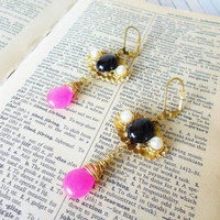 Black Onyx & Pink Candy Jade Wire Wrapped Dangle Earrings / Upcycled Vintage /  Gold and Pearls / OOAK