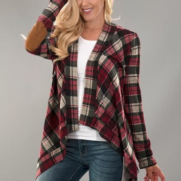 Plaid Cardigan with Elbow Patches - Red