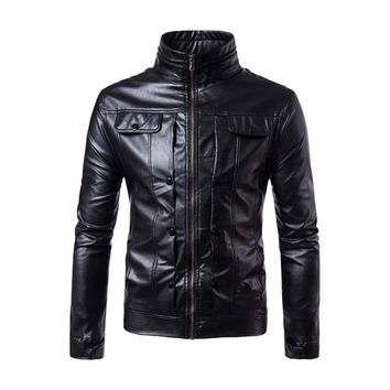 Mens Faux Leather Jacket Motorcycle Biker Jackets Coat 2018 Autumn Punk Stand Collar Solid Coat Jaqueta Masculina Plus size 4XL