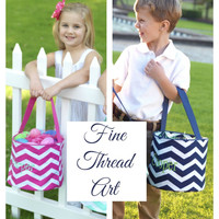 Chevron Easter Buckets in Pink and Navy with Monogram