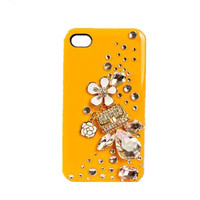 Handmade hard case for iPhone 4 & 4S: Bling cute The Stone Flower perfume package(custom are welcome)