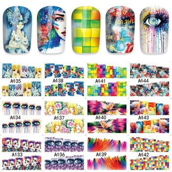 12sheets water decal nail art nail sticker Decorations slider tattoo full Cover  personality design decals A133-144