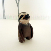 Clay sloth figurine Ooak sloth sculpture Sloth totem Animal totem Clay animal figurine Woodland figurine