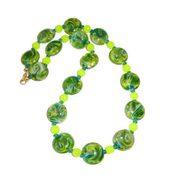 Neon Green and Turquoise Glass Beaded Necklace