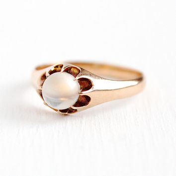 Antique Moonstone Ring - Edwardian 10k Rosy Yellow Gold Solitaire Gem Ring - Size 6 1/4 Vintage 1900s Orb Gemstone Fine Belcher Jewelry