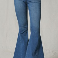 Memory Lane Blue Denim High Stretch Elastic Pull On Waist Bell Bottom Flare Leg Jean Pants (pre-order)