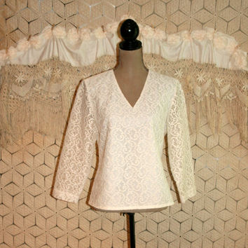 Vintage White Lace Blouse Long Sleeve Dressy Blouse V Neck Tunic White Blouse Lace Top White Top Women Tops Size 10 Medium Womens Clothing