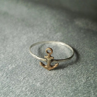 Brass Anchor on Hammered Sterling Silver Ring
