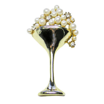 Champagne Glass Brooch Bubbly Pearls and Rhinestones Pin Signed AJC