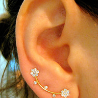 Ear Sweep Wrap - Cuff Earring Ear Climber with Swarovsky - Gold filled Double Flower
