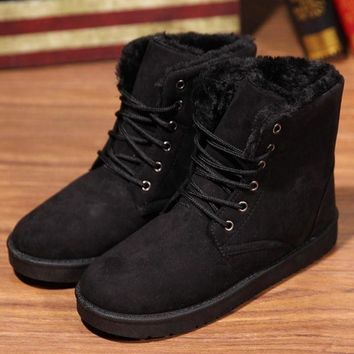 Fashion Winter Women Flat Lace-Up Warm Snow Ankle Boots Black