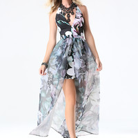 bebe Womens Print Organza Overlay Gown Magnolia Frost 2