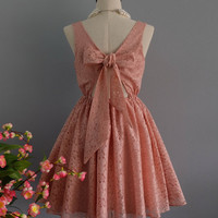 A Party V - Lolita Dress Pink Nude Lace Bow Back Dress Prom Party Dress Pink Nude Bridesmaid Dresses Cocktail Dress Lace Party Dress XS-XL
