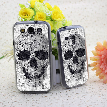 Doodle Skull Bw Protective Cover Case for Samsung Galaxy S3 S3 MINI S4 S4 Mini S5 S5 Mini S6 Edge