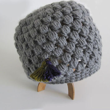 Crocheted hat, grey hat, handmade grey hat with tassels