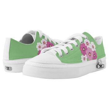 Mint Green Floral Garden Flowers Printed Shoes
