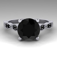 Leaf Solitaire Black Diamond 14K White Gold Wedding Ring
