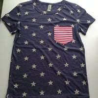 Women's Navy and White Star Shirt with Red and White Striped Pocket- Fourth of July Hot Pick!