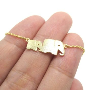 Mother and Baby Elephant Animal Silhouette Charm Bracelet in Gold | DOTOLY
